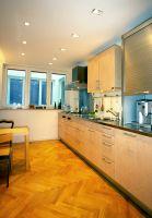 Türkesntrasse, Küche, Spots, ( In der Küche wurden zur Belichtung elektrische, eckige Spots verwendet )